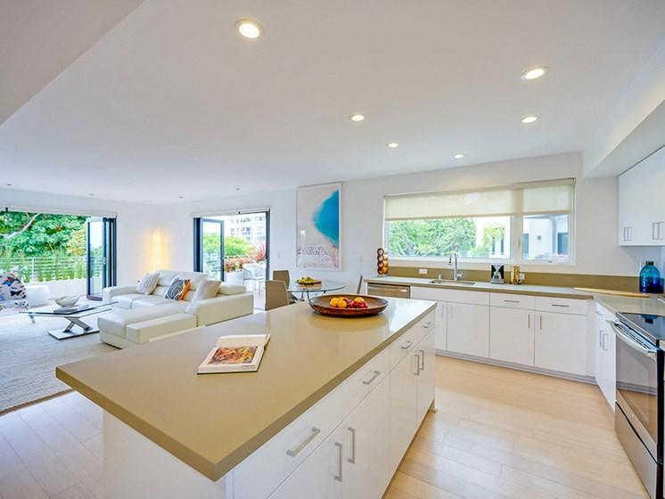 Open Concept Kitchen at 301 Ocean Apartments in Santa Monica, CA