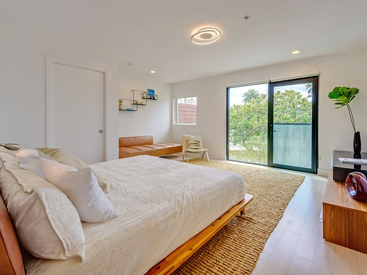 Spacious and light filled bedrooms at 301 Ocean Apartments in Santa Monica, CA