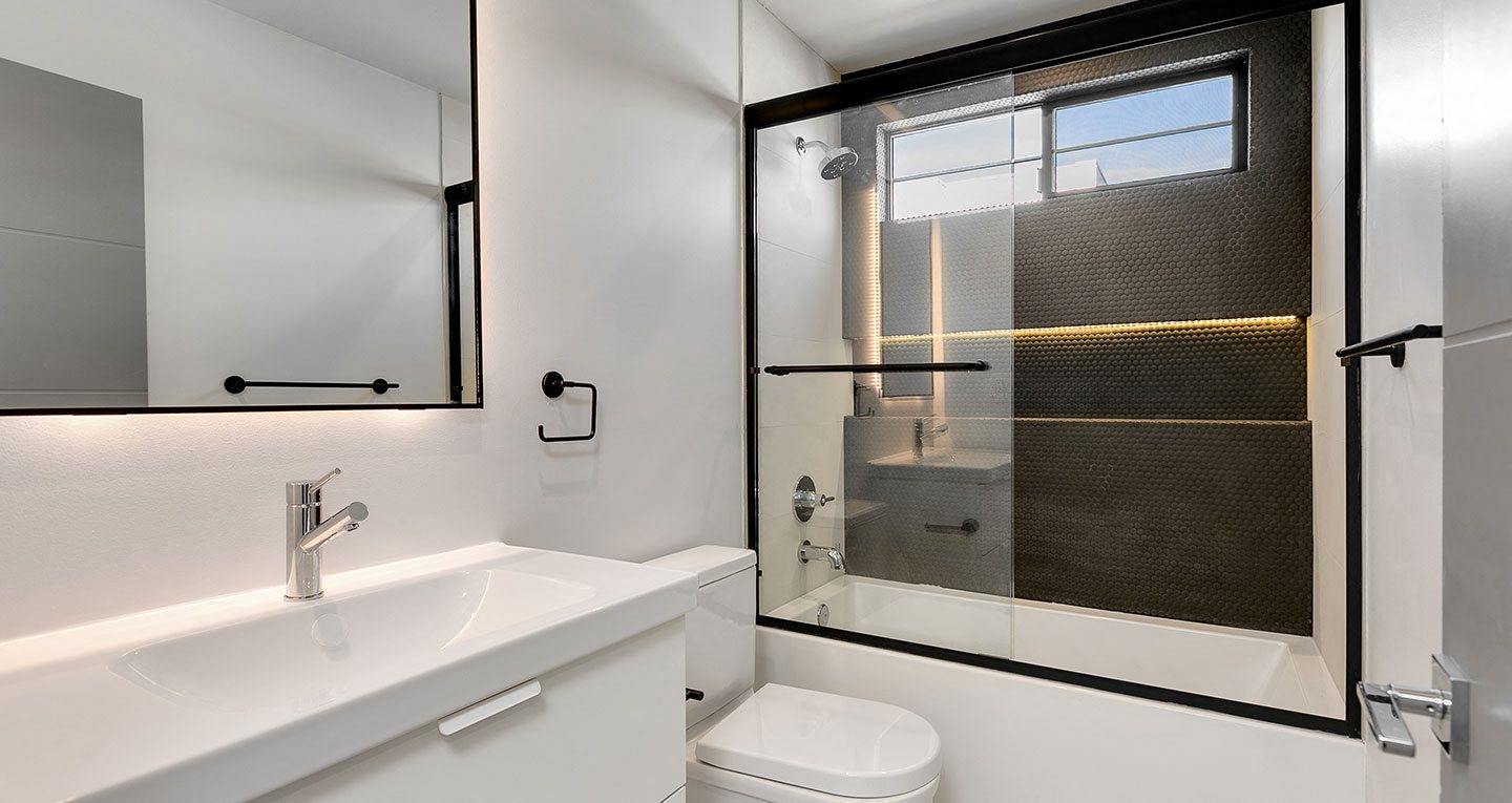 matte black finishes in the bathrooms