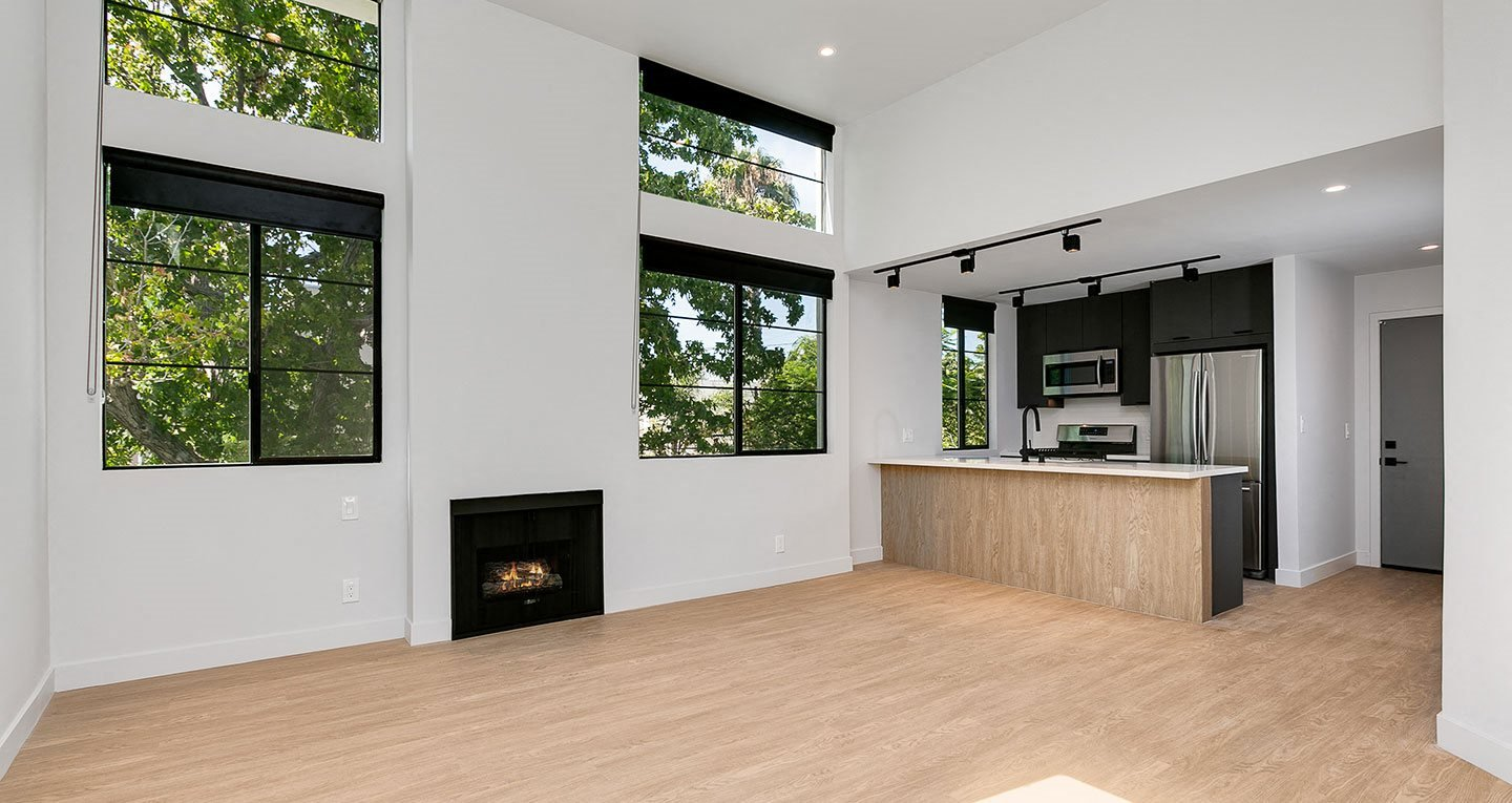 Vaulted ceilings in select units