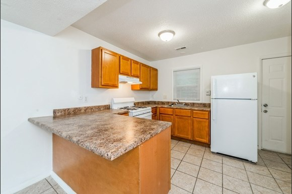 Kitchen of Pangea Parkwest Apartments in Indianapolis