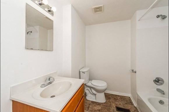 Bathroom of Pangea Parkwest Apartments in Indianapolis