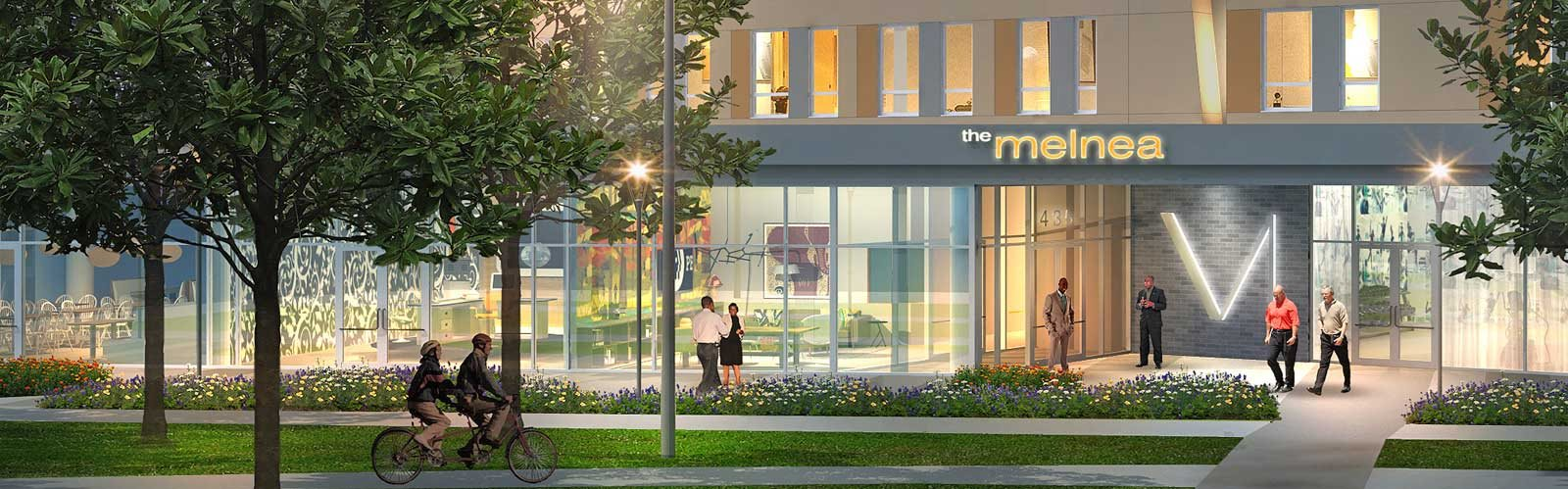 Modern building facade and professional landscaping