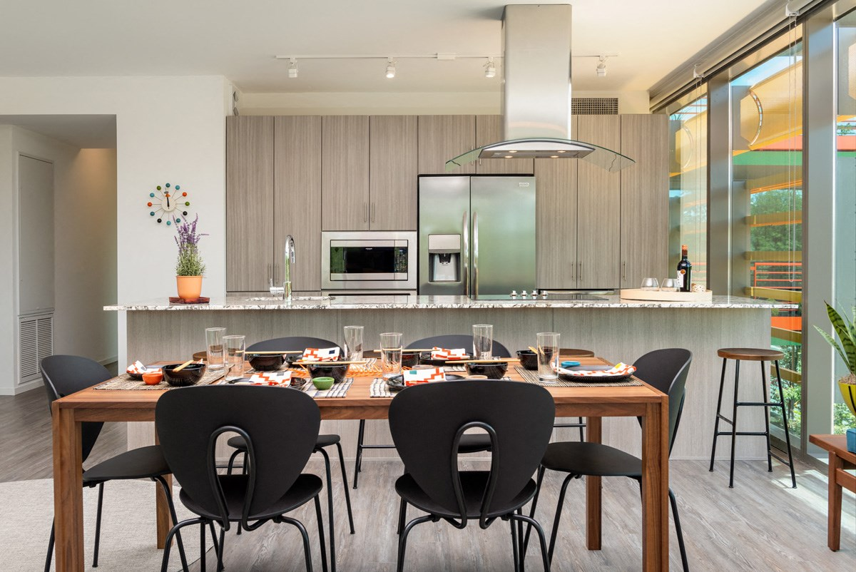 The dining room area inside on of our spacious Scottsdale apartments