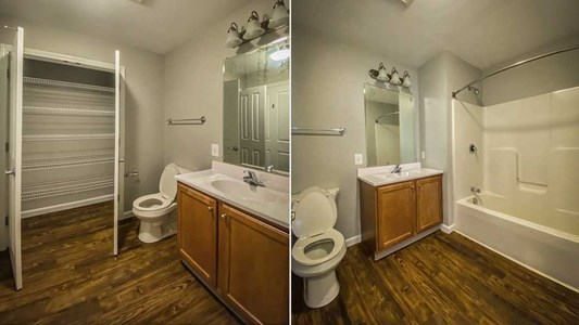 Bathrooms feature large shower, plank flooring, and a large closet.