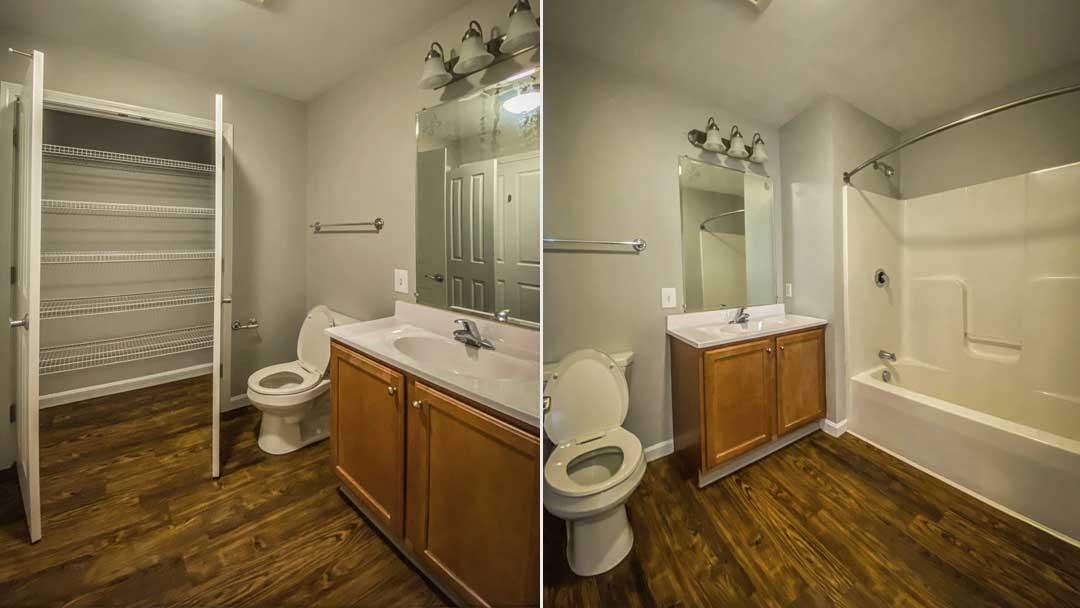 Bathrooms include large closet, nice big shower, and designer finishes.