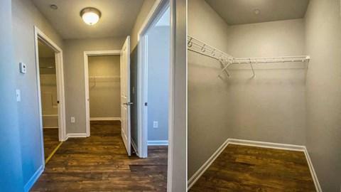 Hallway and walk-in hallway closet.