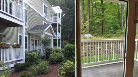 One side shows beautiful landscaped grounds and balconies, the other a view of the woods from a balcony.