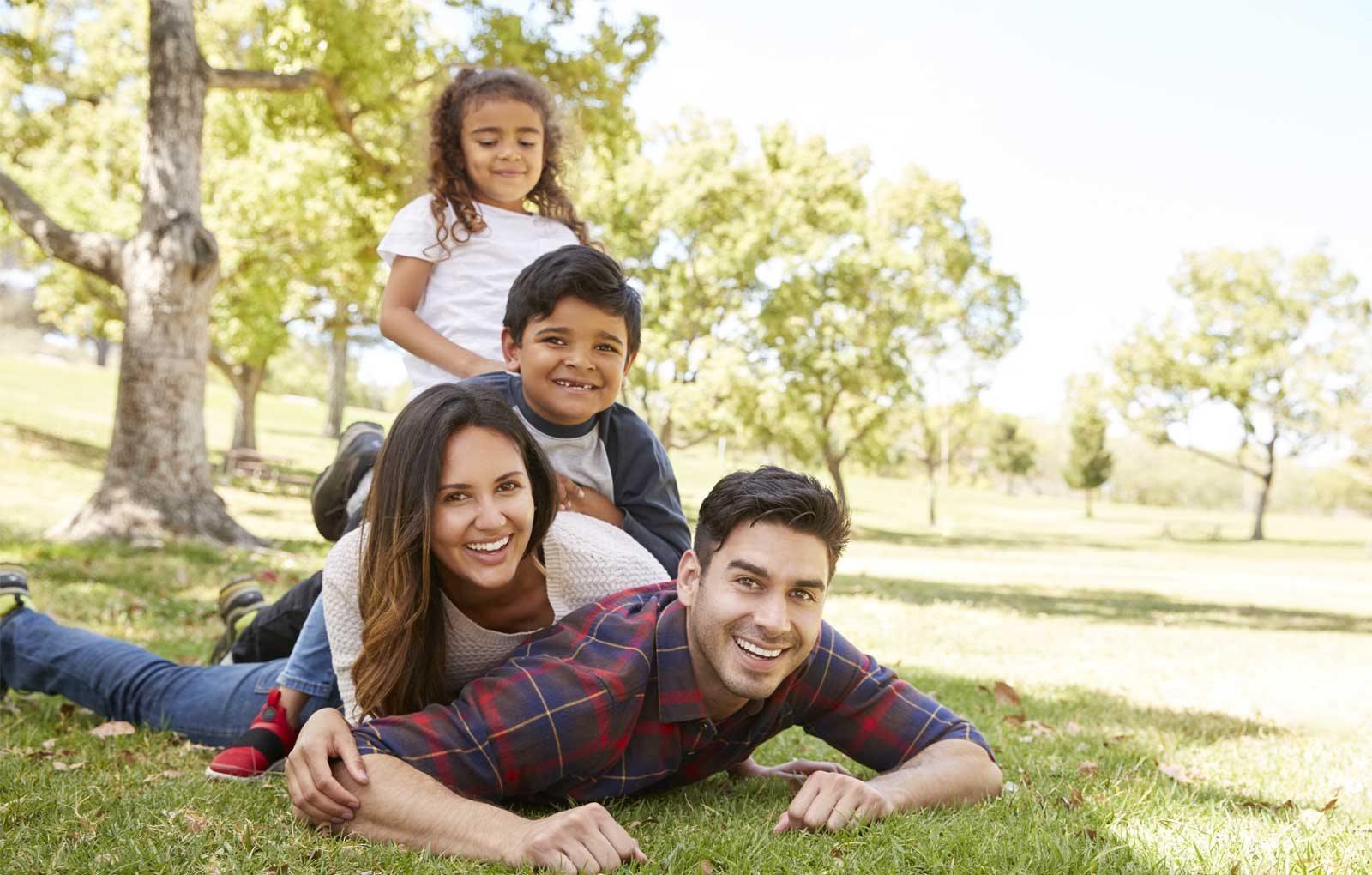 Family having fun outside