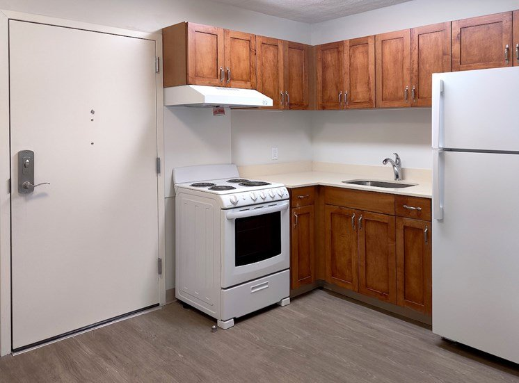 kitchen with efficient appliances and ample cabinetry