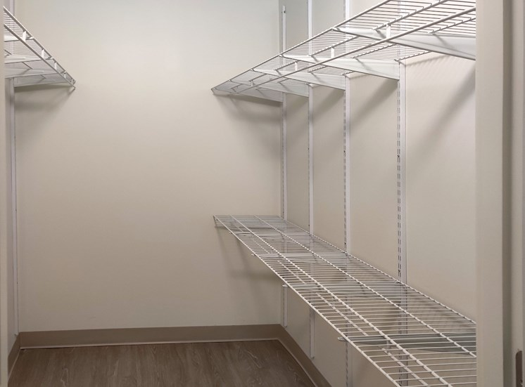 walk or roll-in closet with built-in shelving