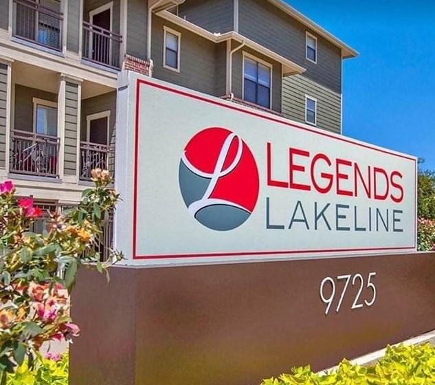 daytime exterior shot of Legends Lakeline logo