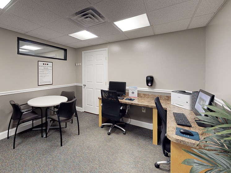 business center with internet access for apartment complex