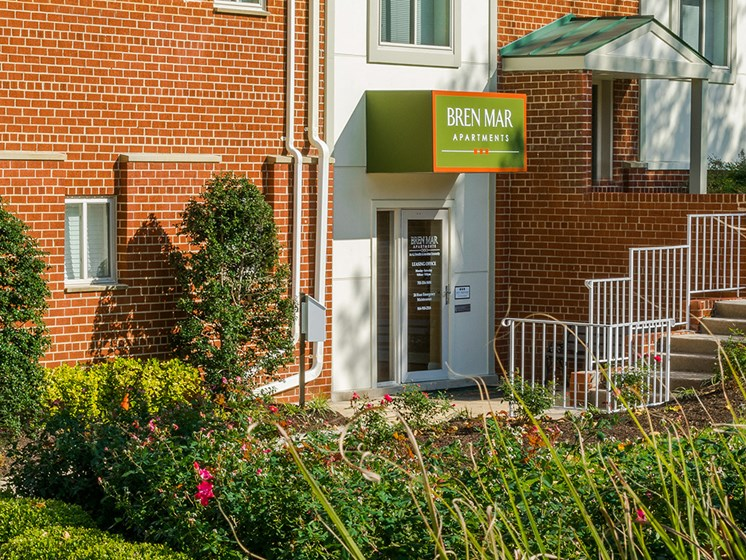 leasing office entrance for bren mar apartments