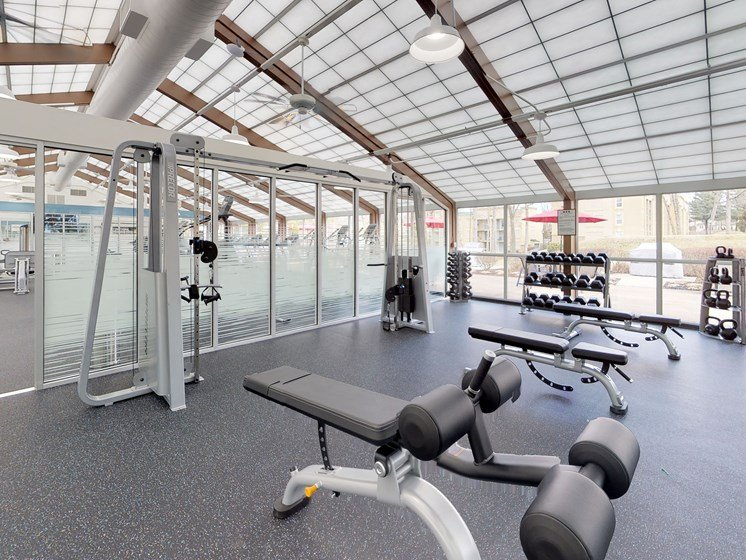 Fitness Center, Weight room, free weights at Stuart Woods Apartments, Herndon VA, 20170