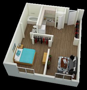 One bedroom one bathroom 3D Floor plan of Villa San Carlos II