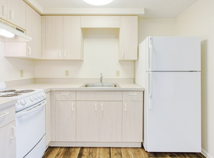 Residential kitchen with white appliances, ample cabinetry, and hardwood-style flooring
