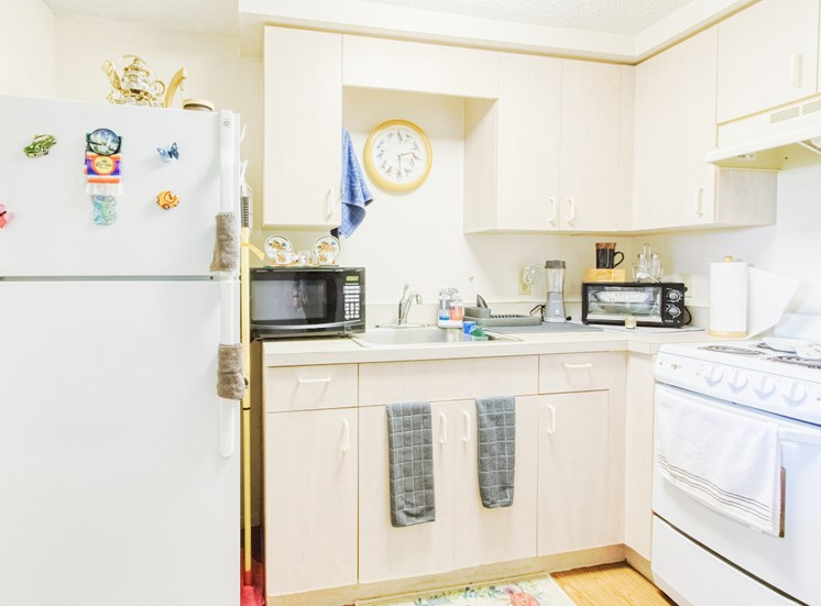 Model kitchen with appliances, cabinets, and decor