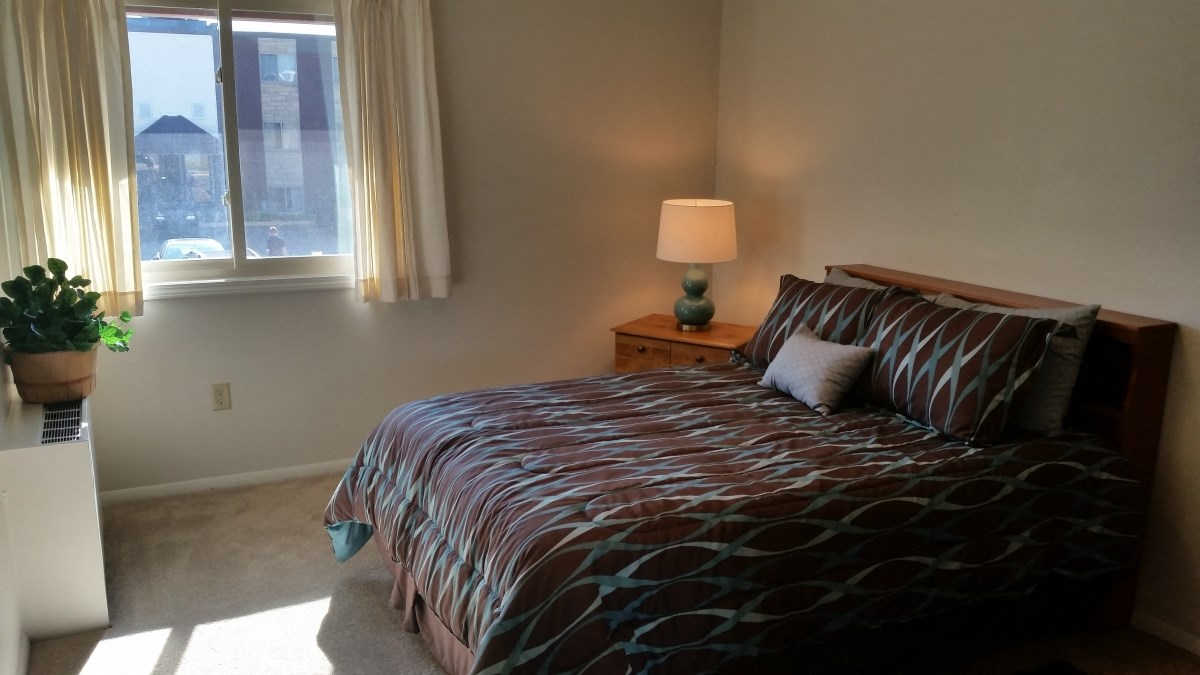Bedroom in two bedroom apartment at Seville Apartments in Iowa City, IA