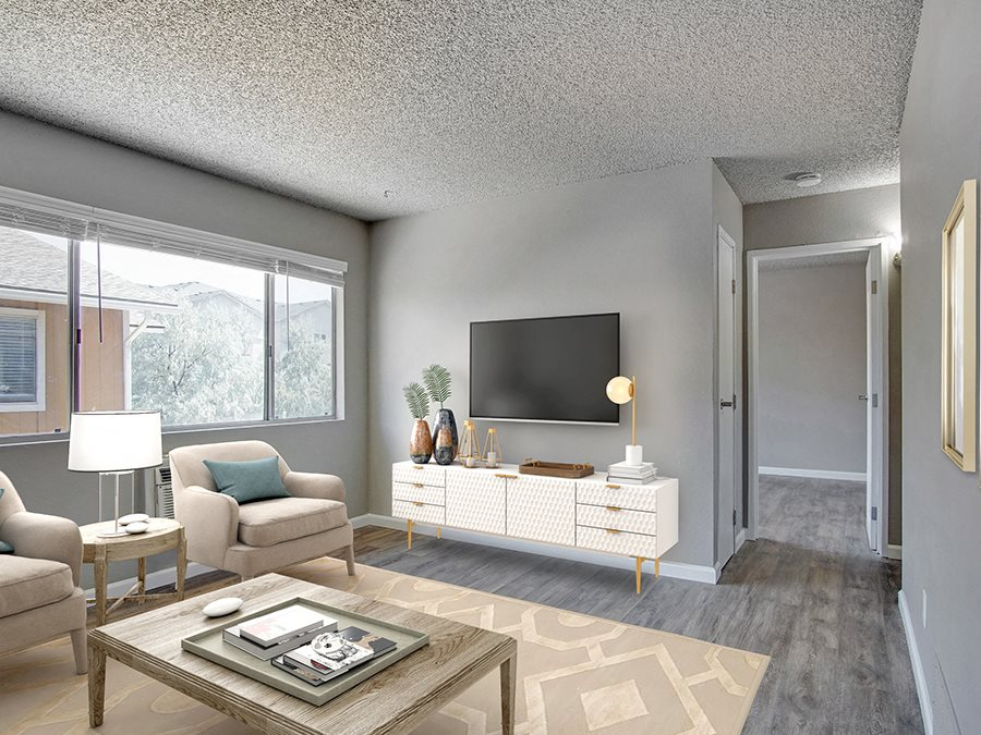 Living Room near hallway l The Aurora Apartments