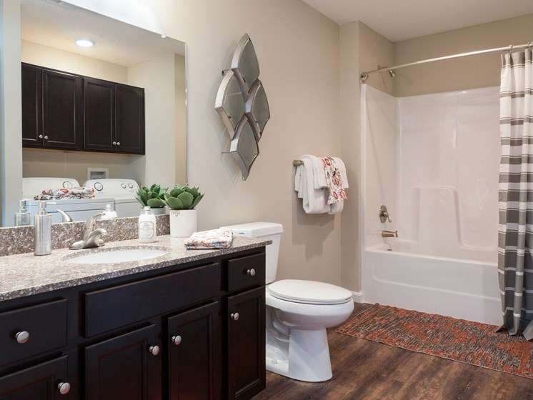 Fort Wayne Indiana apartment rentals Redwood Fort Wayne Diebold Road Bathroom with Laundry Space