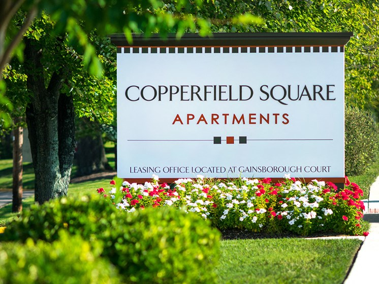 exterior sign for copperfield square at Gainsborough Court Apartments, Virginia