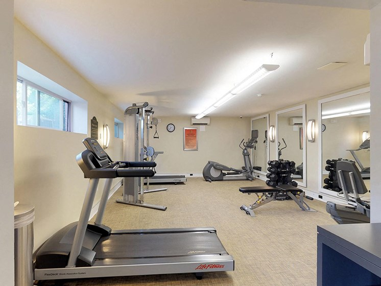 residential gym area with treadmill and various other types of equipment at Gainsborough Court Apartments, Fairfax