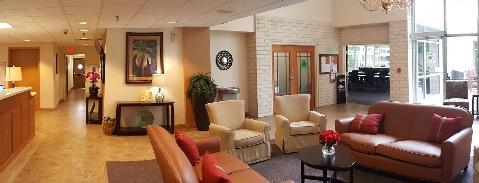 Reception area and furnished lobby of Sundale Manor