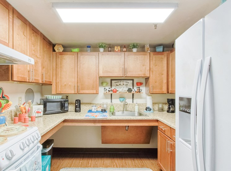 kitchen with oven/stove, fridge, wood cabinets, and overhead lighting