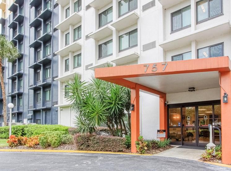 Front entrance drive to Orlando Cloisters Senior Apartments at 757 S Orange Ave, Orlando, FL 32801