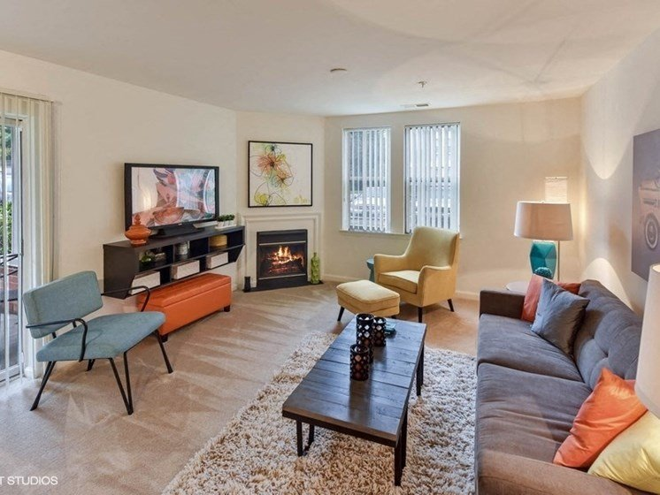 Spacious Living Room With Private Balcony at The Residences at the Manor Apartments, Maryland, 21702