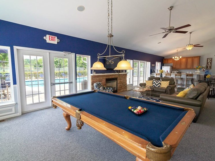 billiards at clubhouse in Chelsea Park Apartments