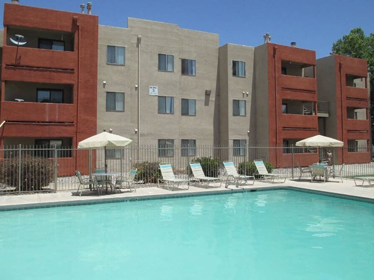 outdoor swimming pool at apartment complex