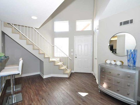 two story model unit staircase