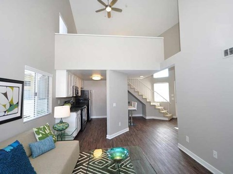 two story model unit living room
