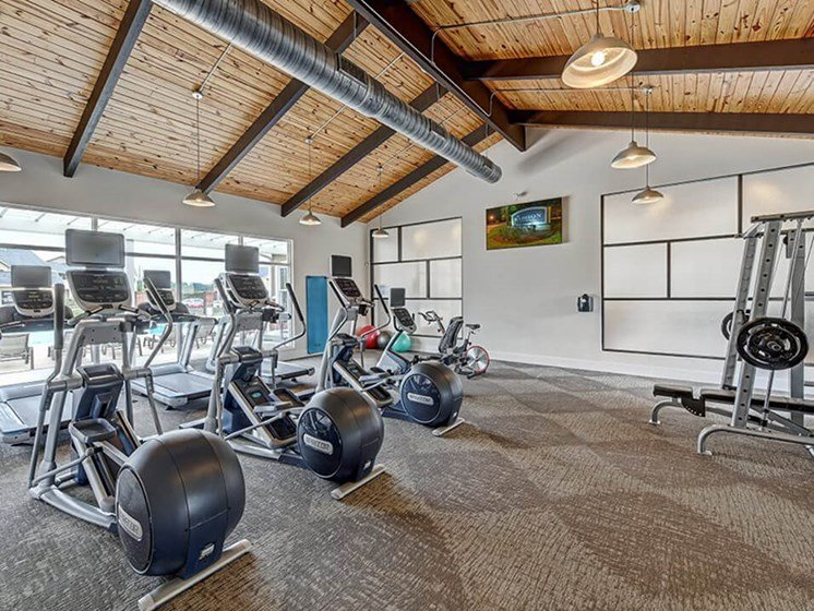 fitness center at apartment