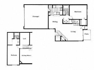 2 Bed 2 Bath + Loft Floor Plan at Deer Run Apartments, Brown Deer, 53223