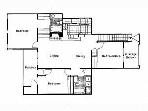 3 Bed 2 Bath Floor Plan at Deer Run Apartments, Brown Deer