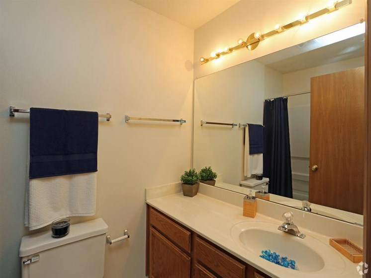 Renovated Bathrooms With Quartz Counters at Deer Run Apartments, Wisconsin, 53223