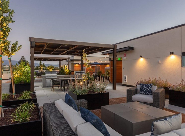 rooftop lounge seating area