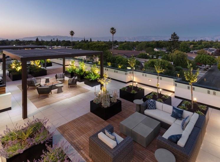 rooftop lounge overlooking city