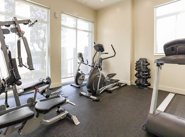 fully-equipped fitness center at East Village