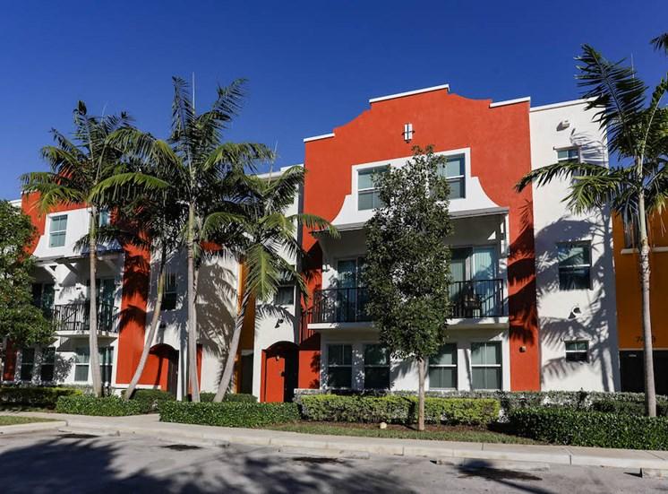 established landscaping at East Village Apartments