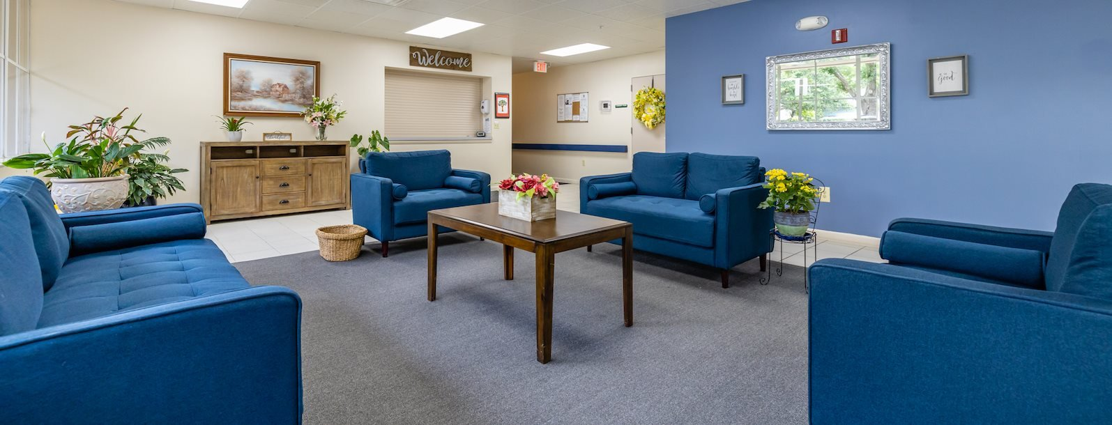 lobby seating area with comfortable couches and chairs