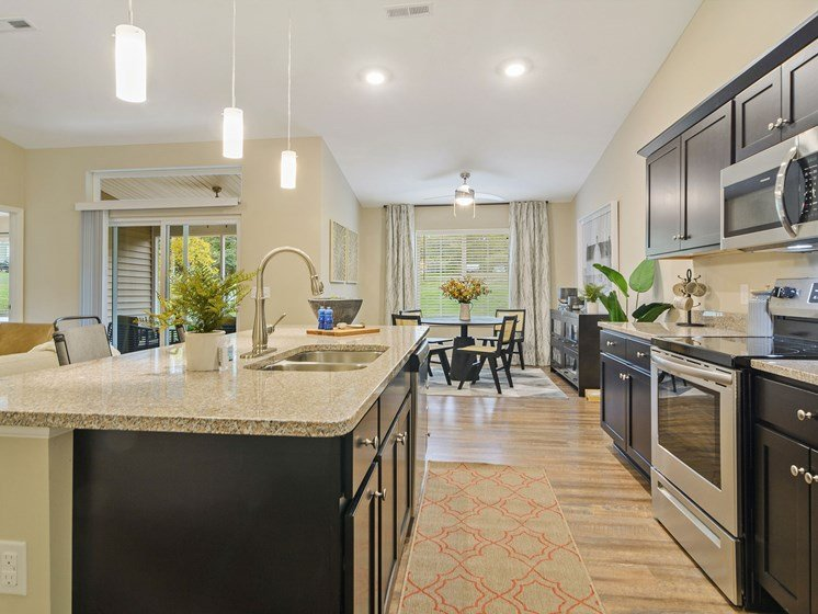 Warsaw Indiana apartment rentals Redwood Warsaw Willowood Kitchen to Dining area