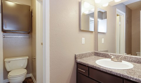 Upgraded Bathrooms with Dark Cabinets are available in select units  Southeast Apartments For Rent   Southpoint Apartments