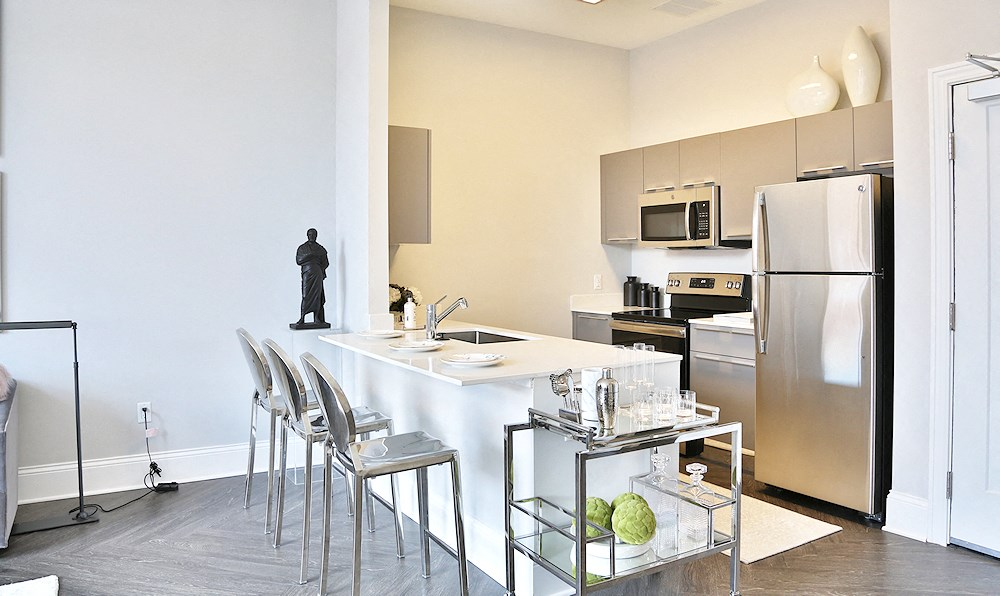 Modern kitchen with comfortable amenities for senior apartment at the James Ferndale