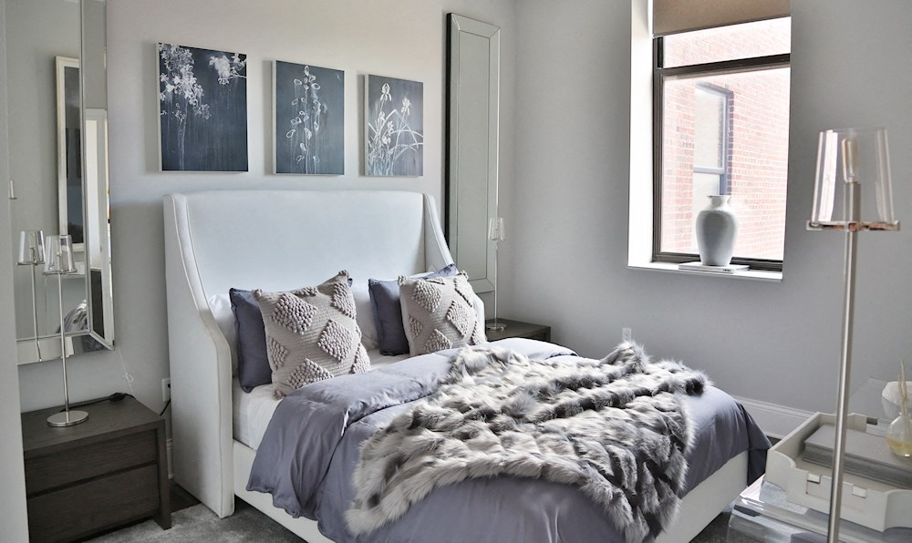 A bedroom in one of The James Ferndale senior apartments