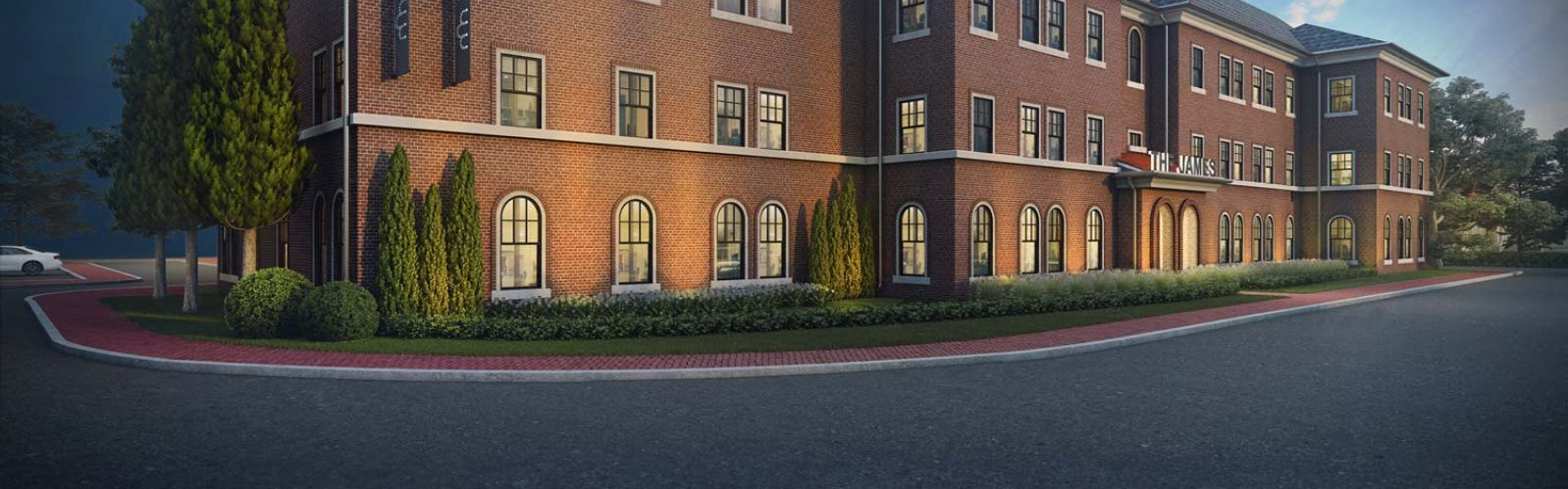 Senior living apartments in an old historic brick building