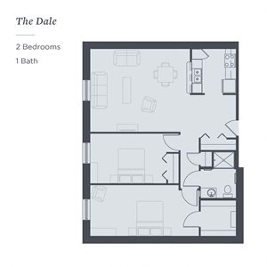 Floor plan of The Dale at The James Ferndale senior apartments